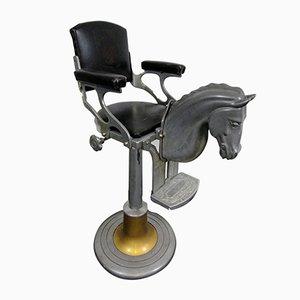 Silla infantil de barbería italiana vintage con caballo, años 50