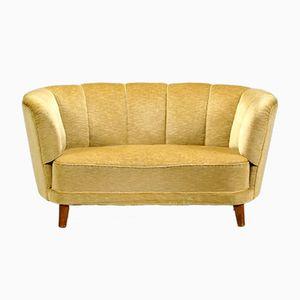 Danish Art Deco Wood and Gold Velvet Sofa, 1940s