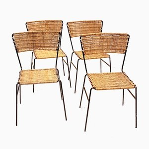 Wicker and Wrought Iron Side Chairs, 1960s, Set of 4