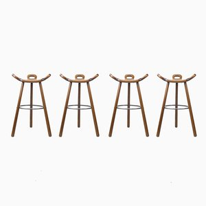 Brutalist Spanish Marbella Bar Stools, 1950s, Set of 4