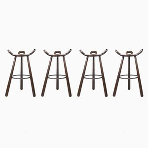 First Edition Brutalist Spanish Marbella Bar Stools, 1950s, Set of 4
