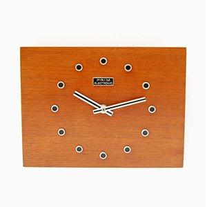 Reloj de pared de palisandro de Prim Electric, años 70