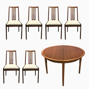 Extendable Round Table with 6 Chairs from Lübke, 1960s