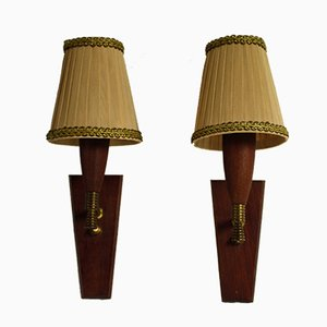 Vintage Danish Teak Wall Lights, 1960s, Set of 2