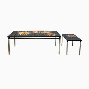 Mesas auxiliares de cerámica y acero cromado, años 60. Juego de 2