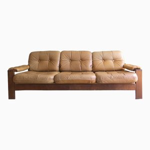 Danish Vintage 3-Seater Sofa in Solid Oak & Leather, 1970s