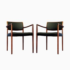 Mid-Century Rosewood & Leather Armchairs, 1960s, Set of 2