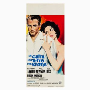 Póster de Cat on a Hot Tin Roof italiano de Silvano Campeggi, años 50