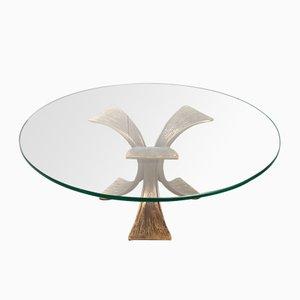 Vintage Bronze & Glass Round Coffee Table, 1970s
