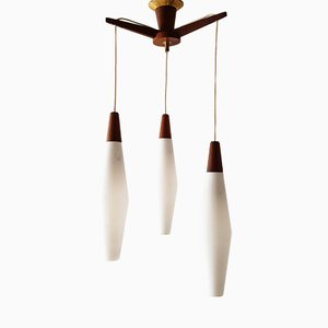 Mid-Century Teak & Glass Hanging Light, 1960s