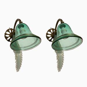 Antike Murano Glas Wandlampen, 2er Set