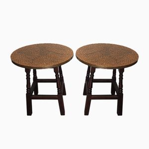 Vintage Industrial Copper Topped Side Tables, Set of 2