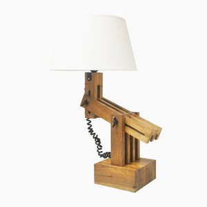 Articulated Oak Table Lamp by Daniel Pigeon for Le Chene Sauvage, 1980s