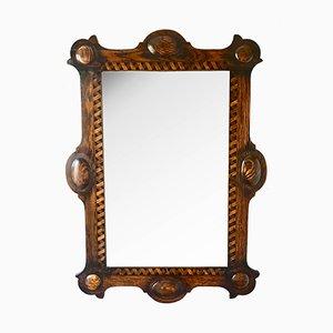 Espejo de pared Arts & Crafts antiguo de madera