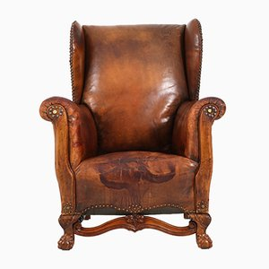 Leather Wingback Chair, 1930s