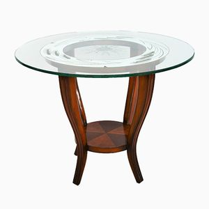 Italian Art Deco Side Table in Mirrored Glass, 1930s