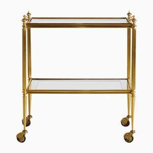Golden Trolley with Glass Tray Top, 1970s
