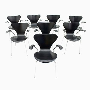 Black 3207 Armchairs by Arne Jacobsen for Fritz Hansen, 1976, Set of 8