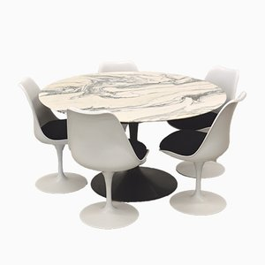 Marble Tulip Dining Set by Eero Saarinen for Knoll International, 1970s