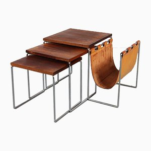 Nesting Tables with Leather Sling from Brabantia, 1960s