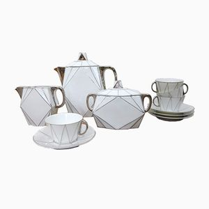 White Porcelain Coffee Service Set from RKG, 1930s