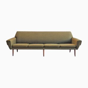 Danish 4-Seater Sofa in Green Woolen Fabric, 1960s