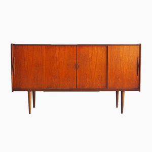 Teak Veneer Highboard with 4 Sliding Doors, 1960s