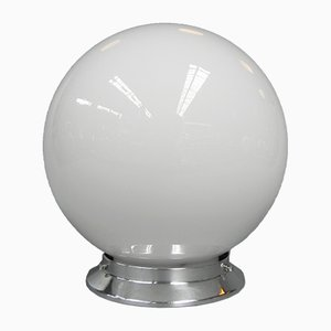 Art Deco Spheric Ceiling Lamp in White Glass, 1930s