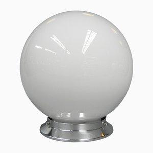 Lampada da soffitto Art Deco sferica in vetro bianco, anni '30