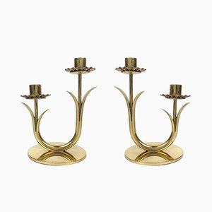 Schwedische vintage Kerzenständer von Gunnar Ander für Ystad-Metall, 2er Set