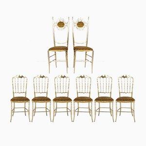 Sillas Chiavari de latón de Giuseppe Gaetano Descalzi, años 50. Juego de 8