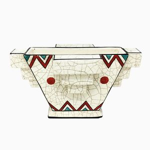 Französische vintage Art Deco Keramik Vase, 1930