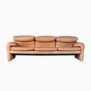 Italian Leather Maralunga Sofa by Vico Magistretti for Cassina, 1970s
