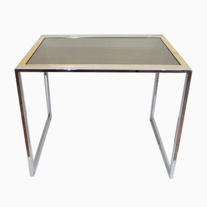 Small Side Table in Gold & Chromed-Metal by Willy Rizzo, 1970s