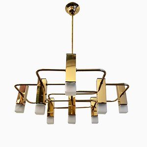 Messing Kronleuchter mit 9 Leuchten von Gaetano Sciolari für Boulanger, 1975