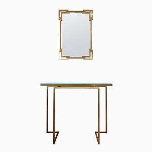Brass Mirror and Console Table by Guy Lefevre for Maison Jansen, 1975