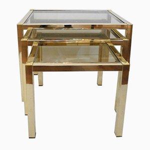 Mesas nido cuadradas de metal dorado y vidrio, años 70