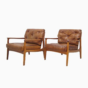 Mid-Century Teak & Leather Lounge Chairs by Eugen Schmidt for Soloform, Set of 2
