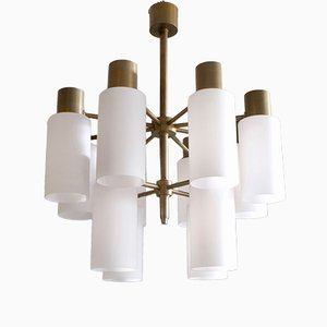 Brass Chandelier with Opaline Shades by Hans-Agne Jakobsson, 1960s