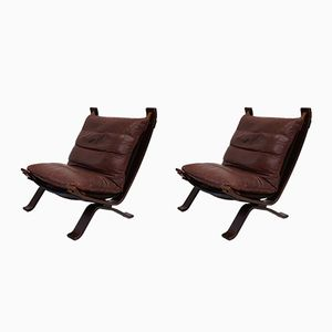 Focus Leather Lounge Chairs from Bramin, 1960s, Set of 2