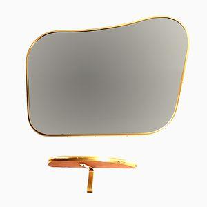 Specchio vintage in ottone di Lachmayr, Austria, anni '50