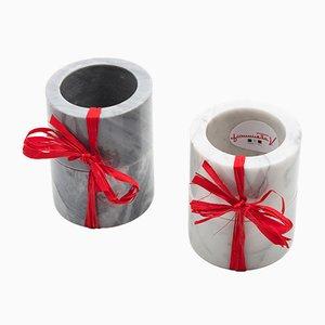 Anelli per tovaglioli in marmo grigio di FiammettaV Home Collection, set di 2