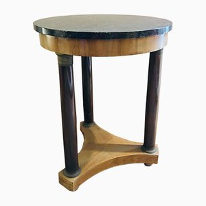 Small Empire Style Table with Column Supports, Wood with Bronze Inserts, and Black Marble, 1870s