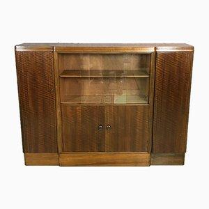 Englisches Art Deco Buffet aus glasiertem Nussholz