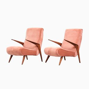 Scandinavian Modern Pink Velvet Lounge Chairs, 1950s, Set of 2