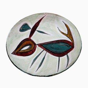 Keramik Wandteller von Jacques Poussine, 1950er