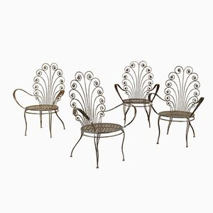 Vintage Italian Wrought Iron Chairs, 1960s, Set of 4