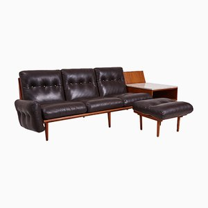 Danish Leather 3-Seater Sofa with Marble Side Table & Ottoman, 1960s