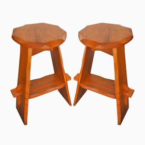 Mid-Century Elm Stools, Set of 2