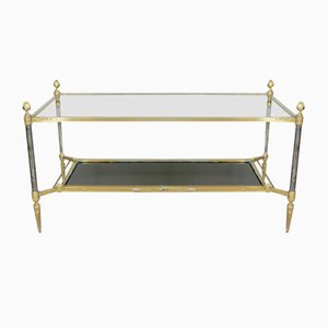 French Bronze, Steel & Glass Coffee Table from Maison Jansen, 1960s